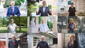 Collage aus neun Bilder von drei Frauen und sechs Männern